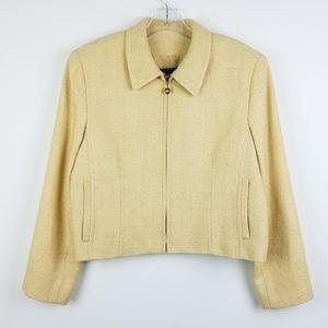 Burberry light yellow / tan zip up silk Blazer